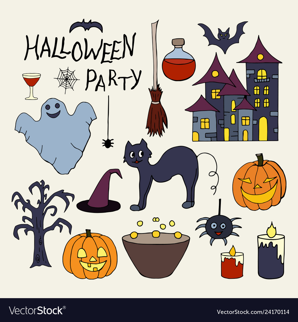 Set of hand drawn elements for halloween party