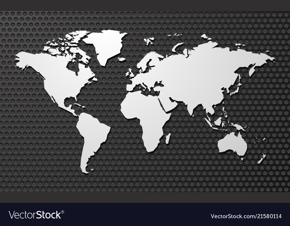 Simple blank map of the world on metal background vector image gumiabroncs Image collections