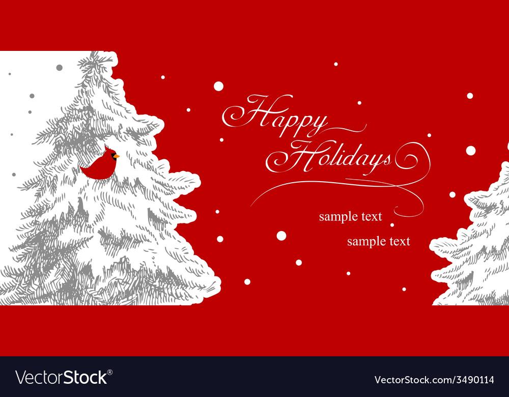 Stylish christmas card with Cardinal Bird