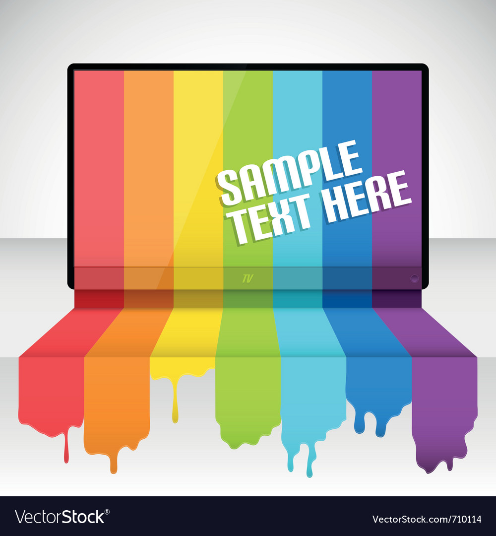 Tv with rainbow paint vector image