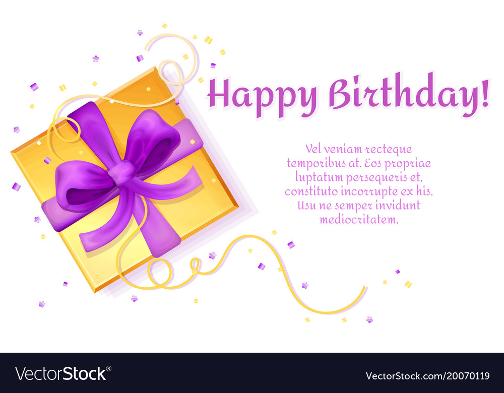 Birthday poster present box template Royalty Free Vector