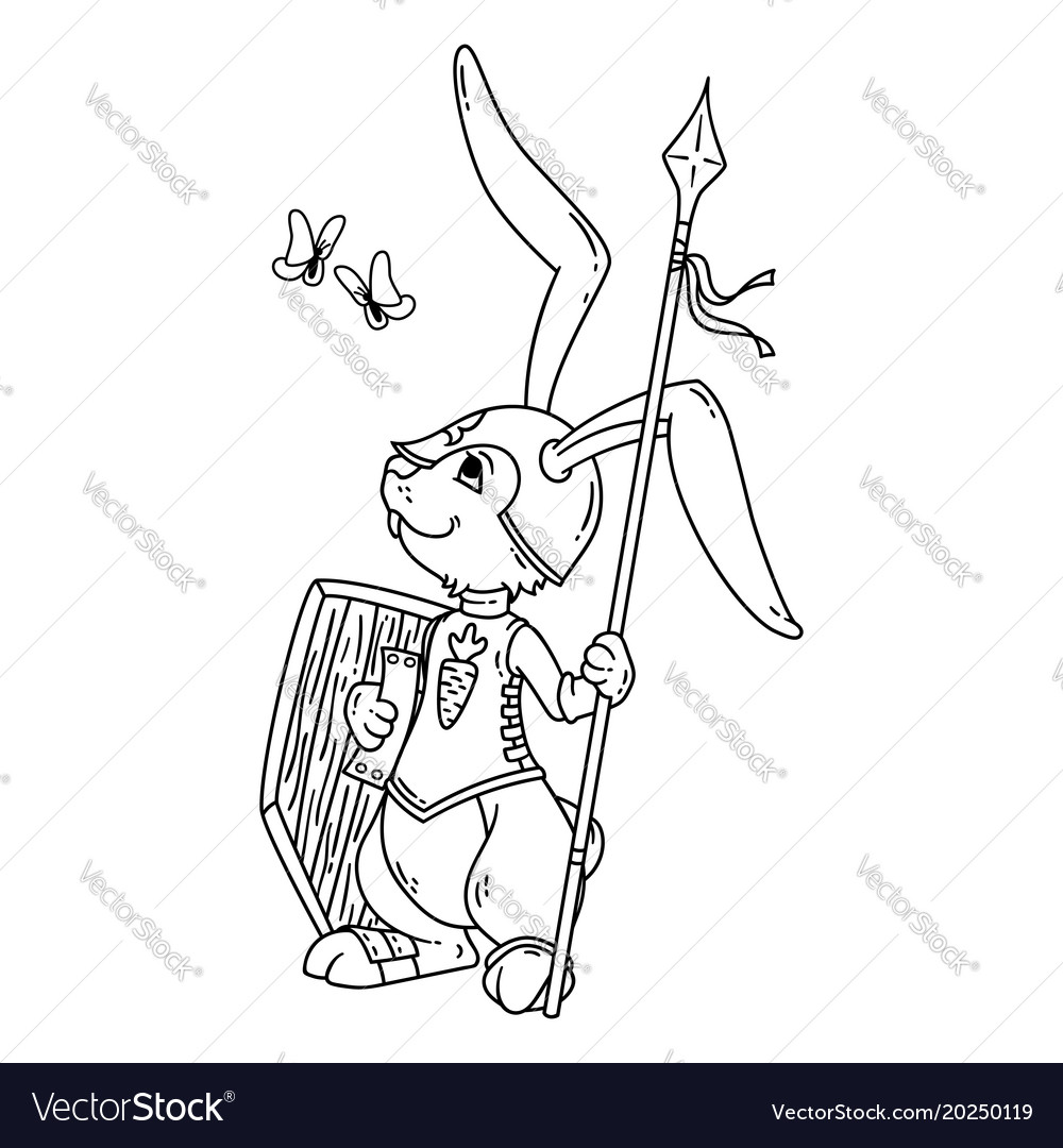 Bunny knight with a lance and shield