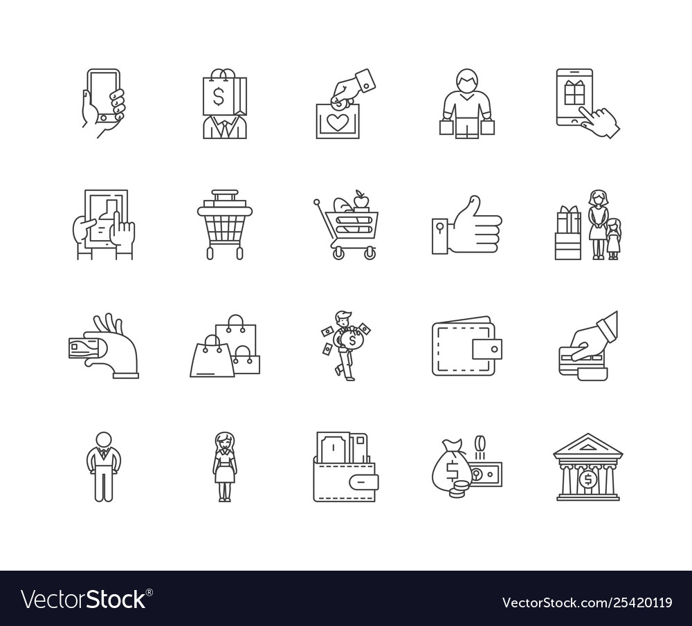 Buyer line icons signs set outline