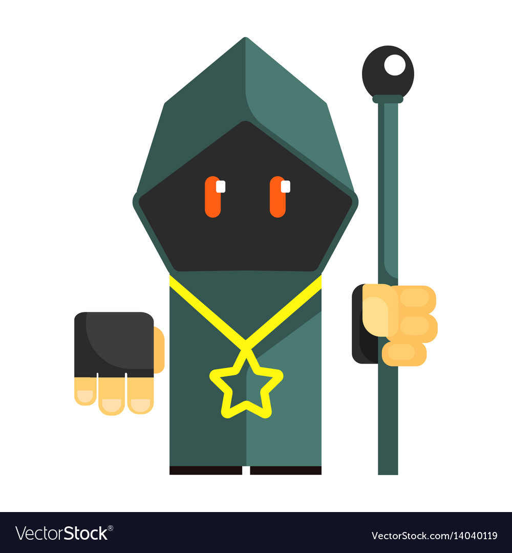 Cartoon mysterious gnome in a gray cape with