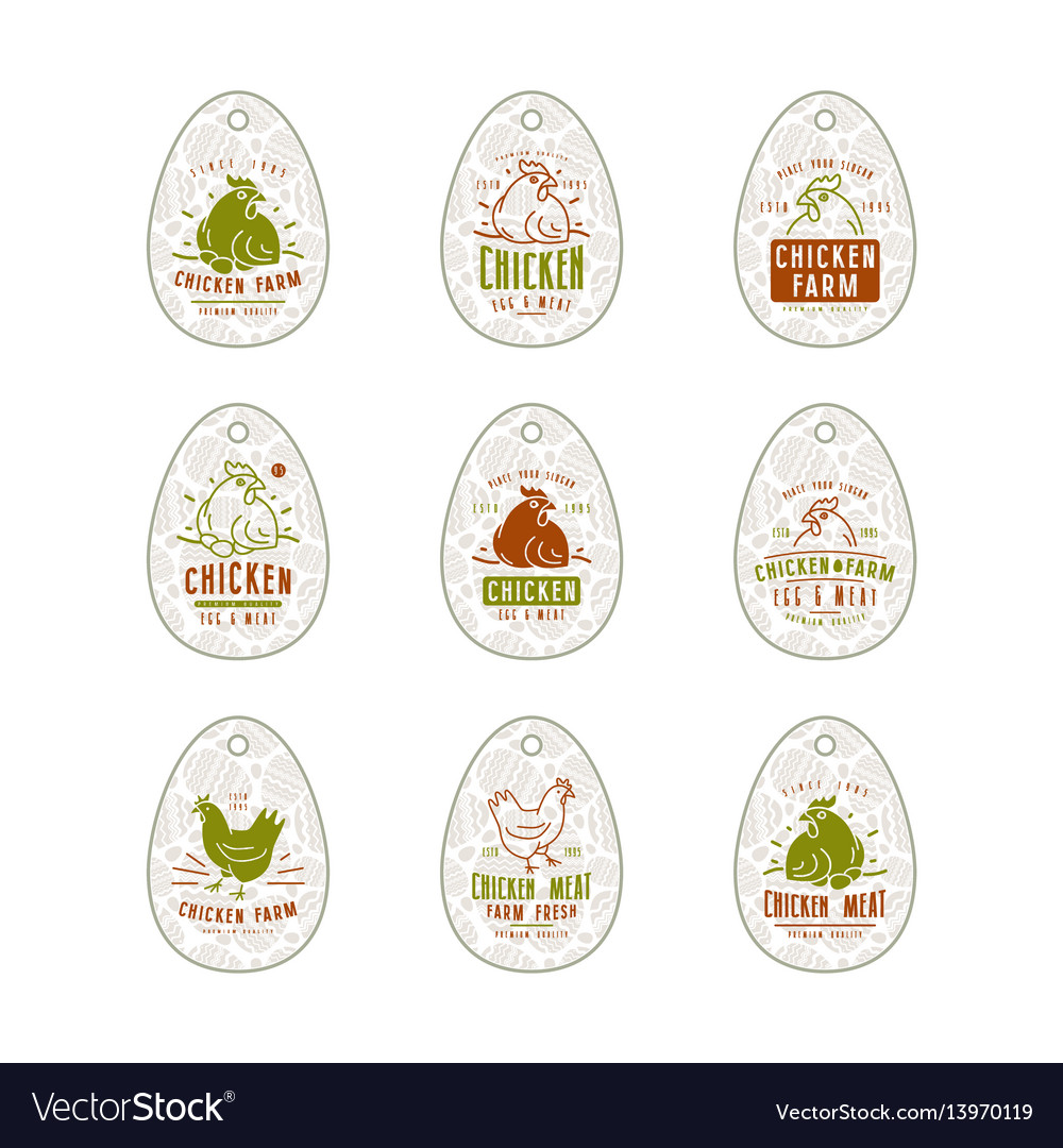Chicken farm tag in the form of eggs