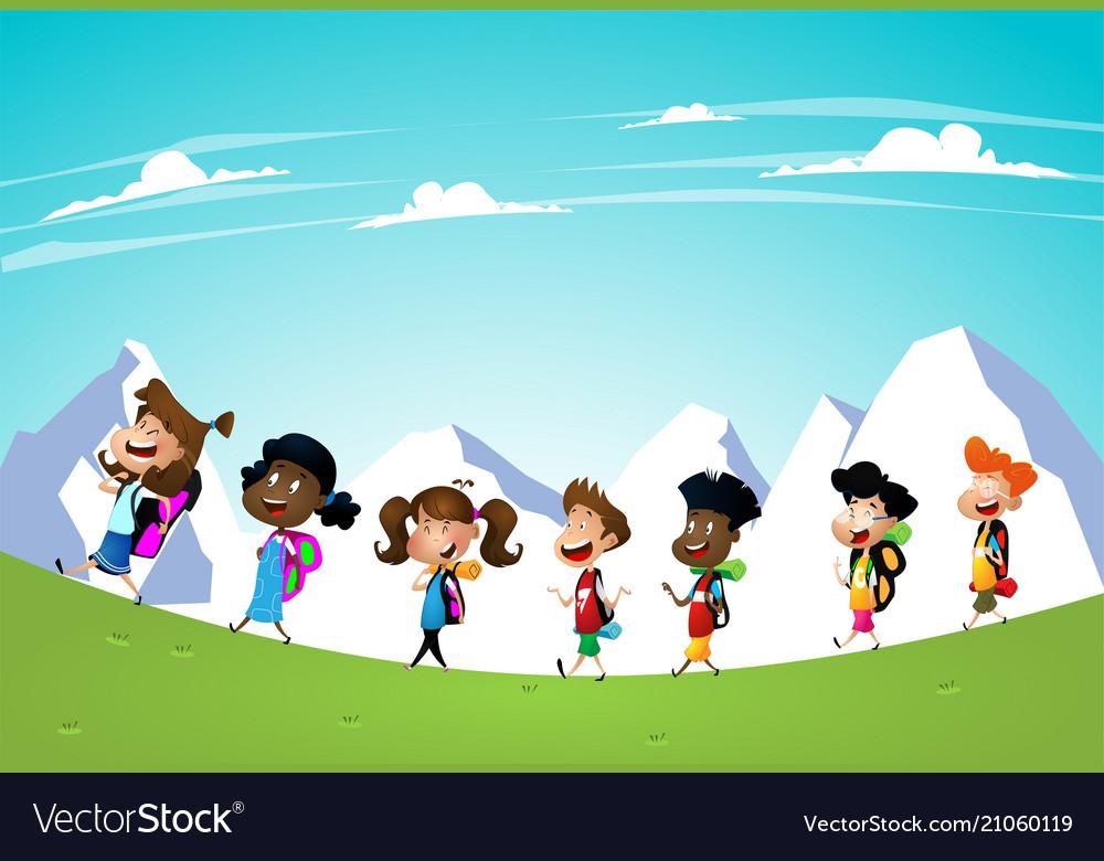 Little kids on a hiking trip