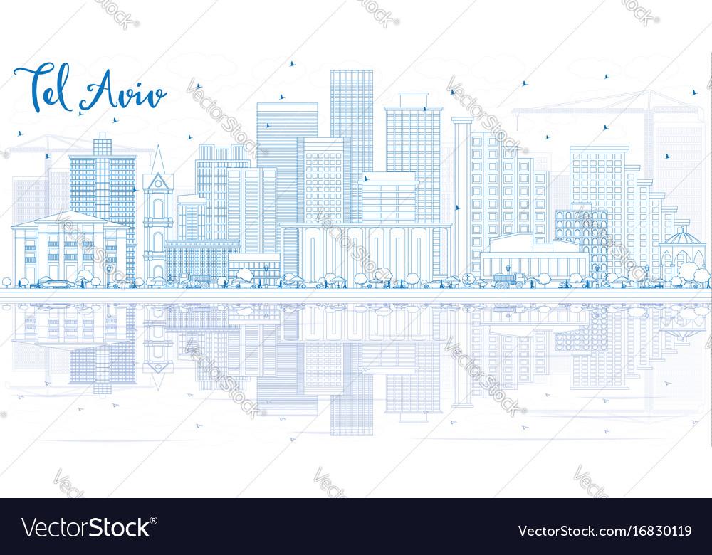 Outline tel aviv skyline with blue buildings and
