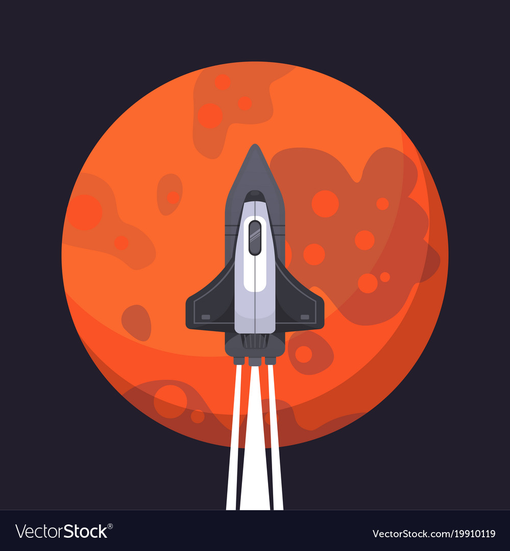 Rocket ship and mars in cartoon style new