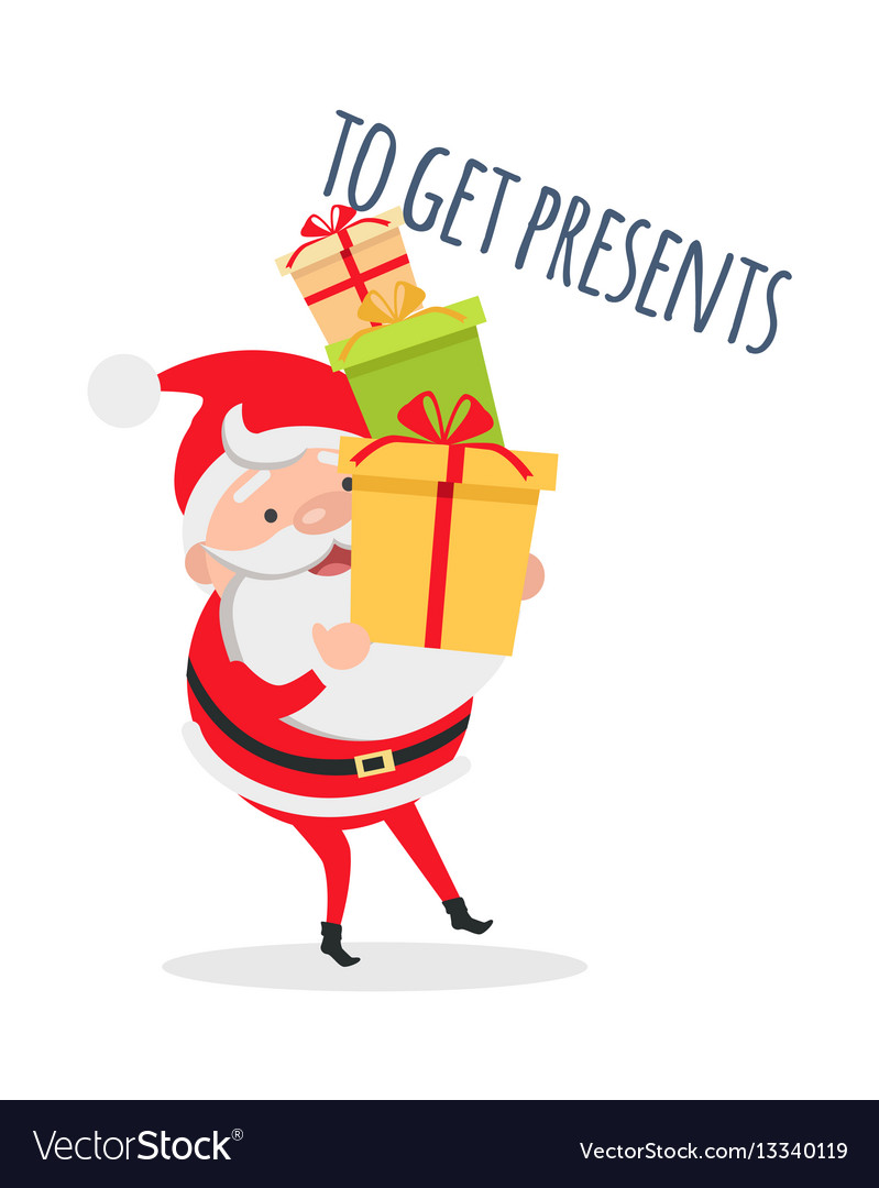 Santa claus with mountain of gift boxes vector image