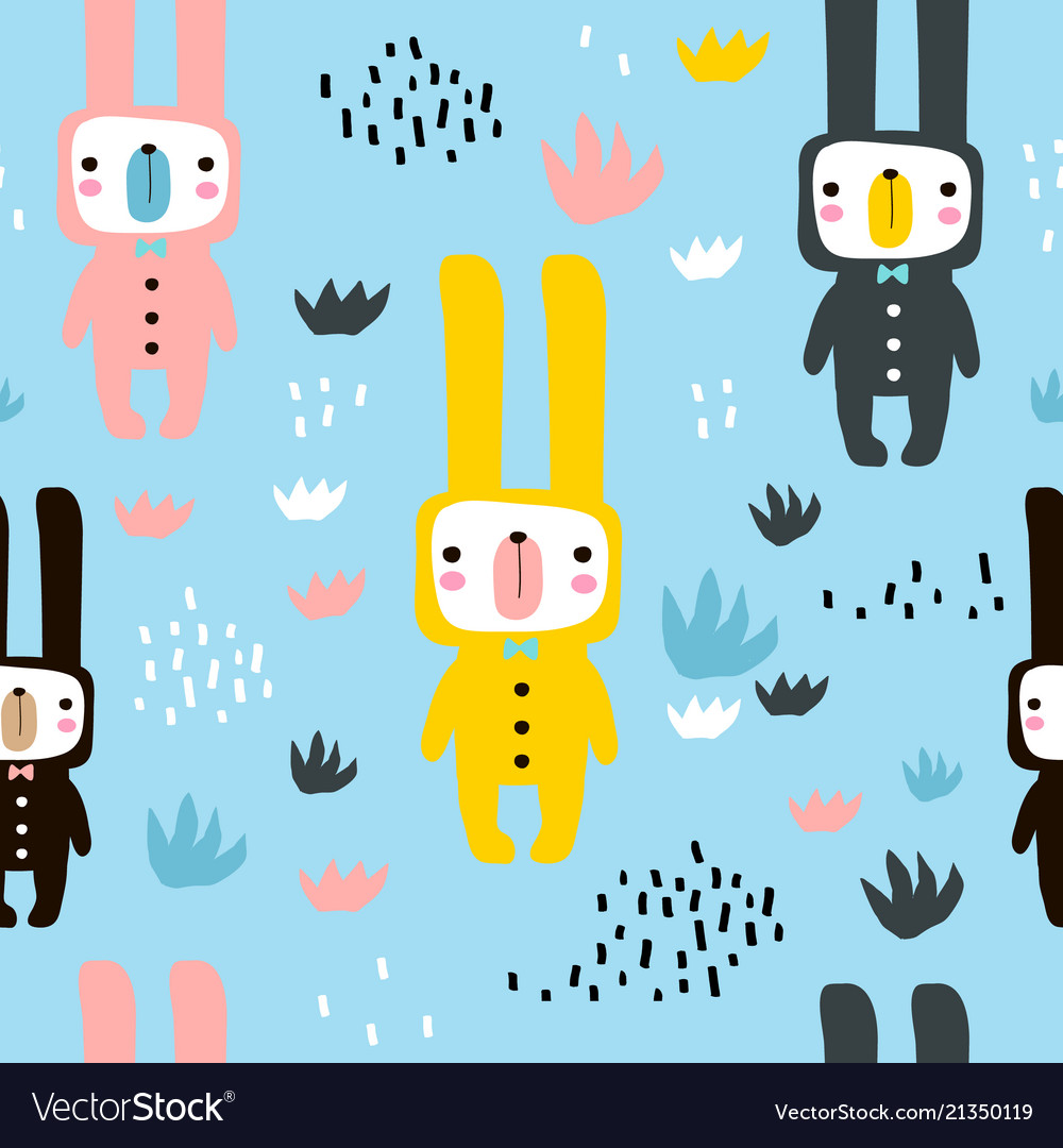 Seamless childish pattern with cute rabbits in
