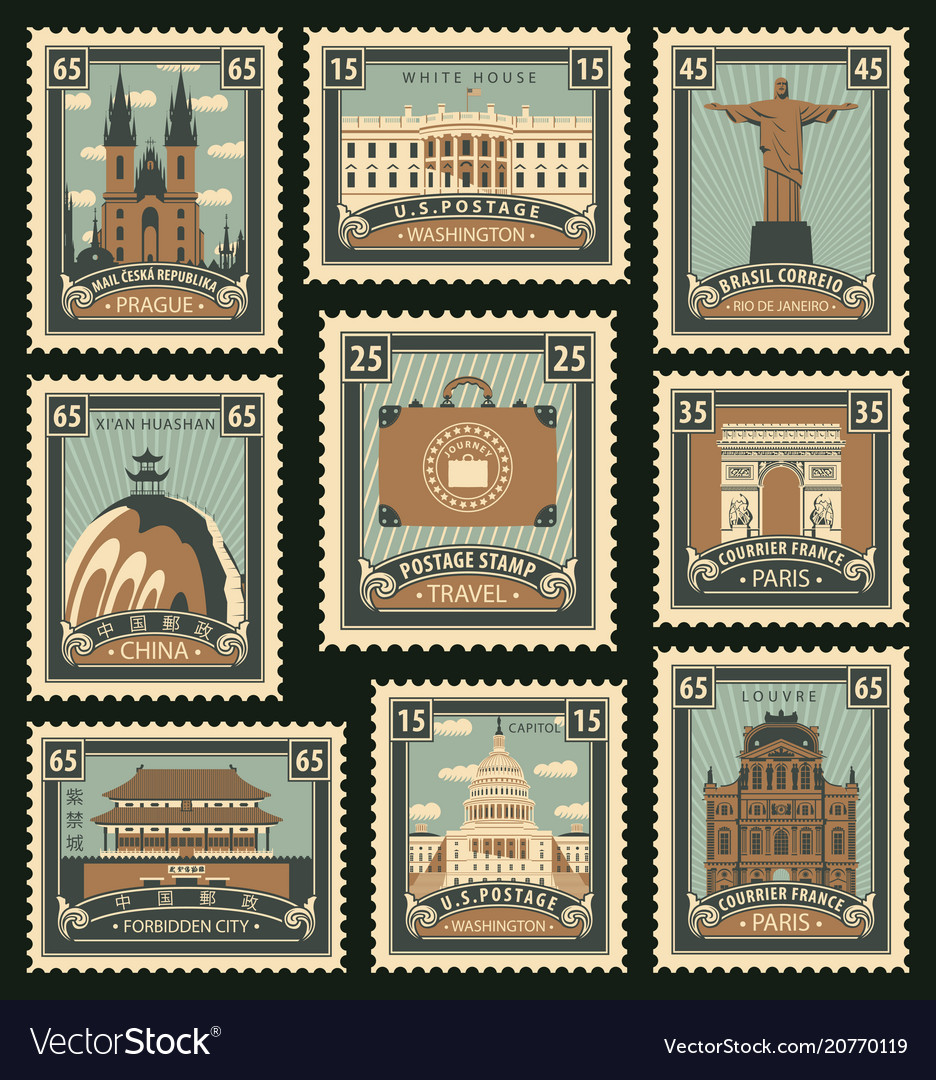 Set of postage stamps on the travel theme