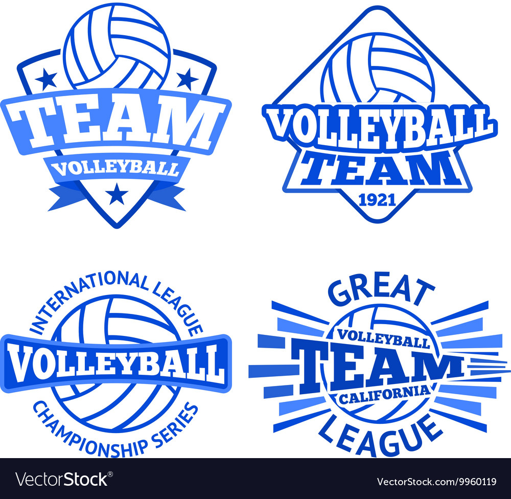 Set of volleyball badges logo templates