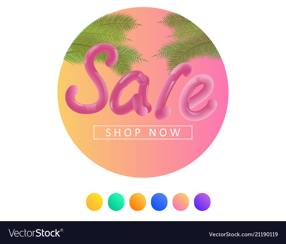 Summer sale background with palm