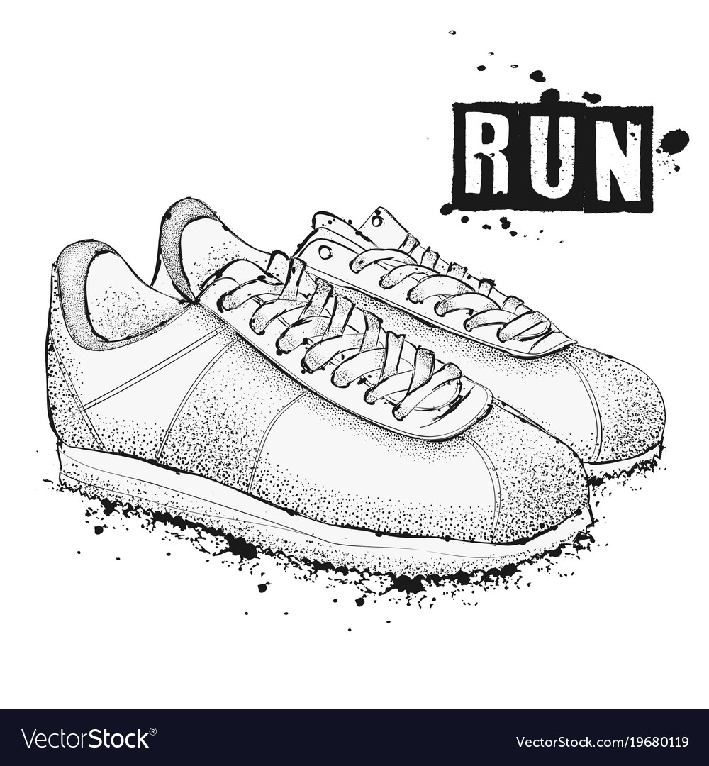 The image of sports sneakers on a white