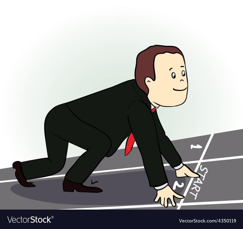Young businessman standing in start position