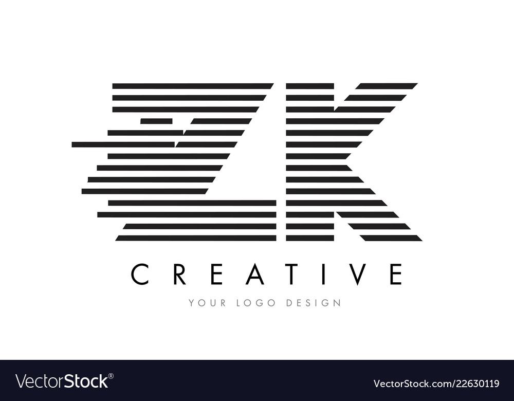 Zk z k zebra letter logo design with black and