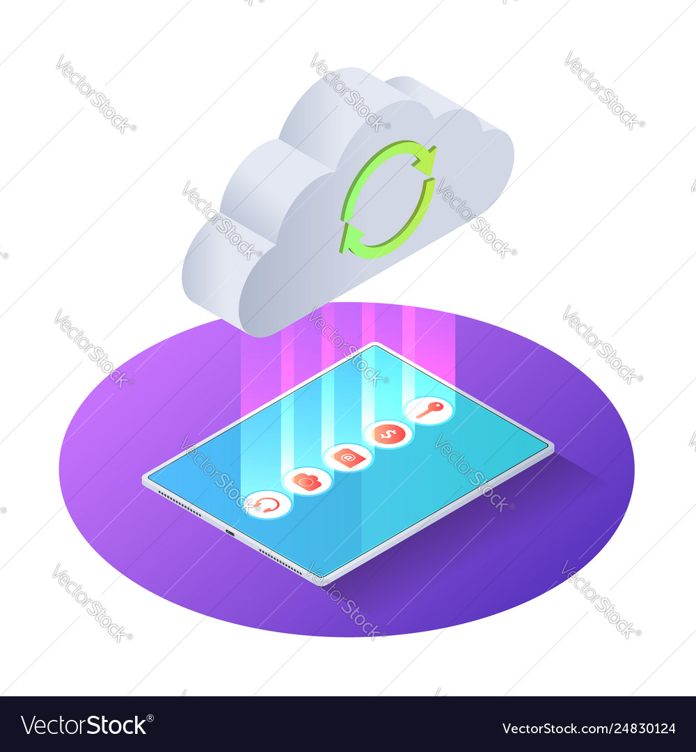 3d isometric tablet pc uploading file to cloud