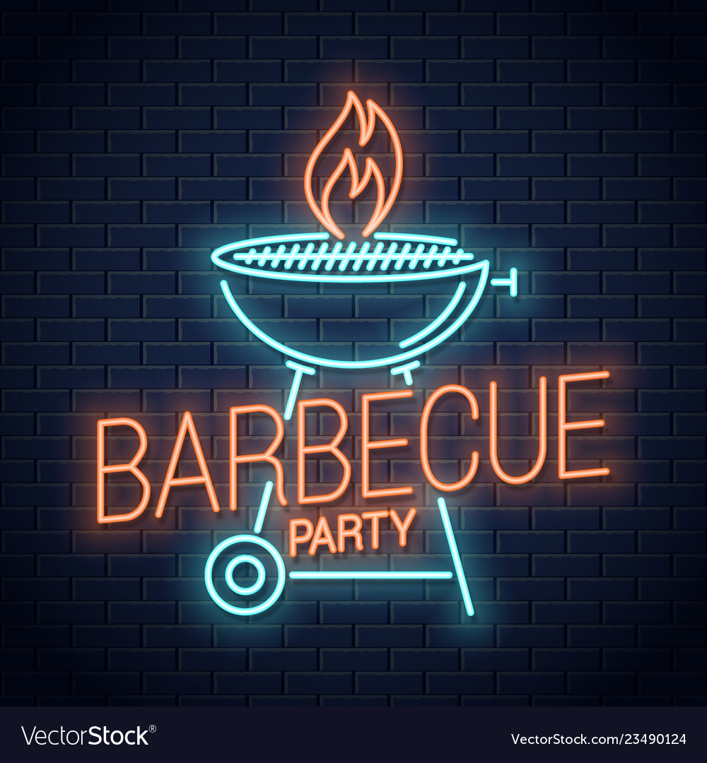 Barbecue grill neon logo bbq with flame neon sign