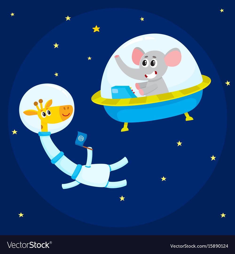 Cute animal astronauts spacemen elephant in