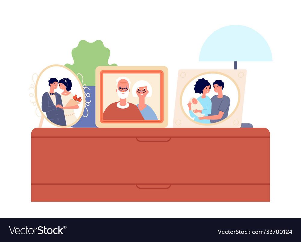 Family portraits in frames couple children photo