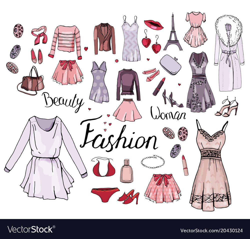 Isolated Woman Clothes On White Background Set Vector Image