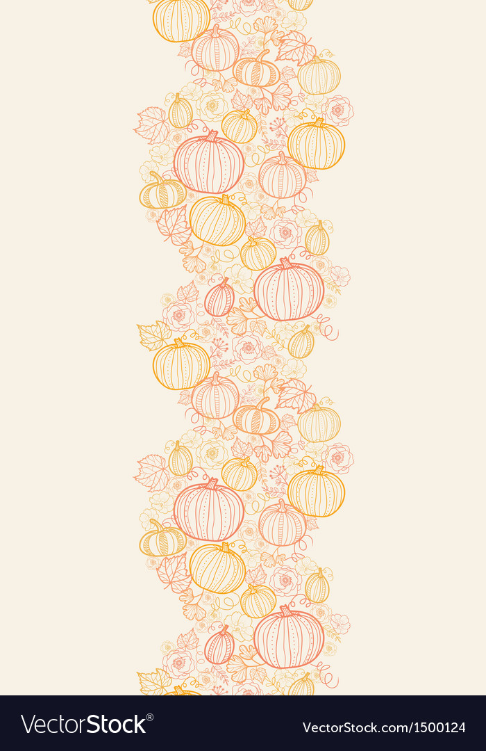 Thanksgiving line art pumkins horizontal seamless