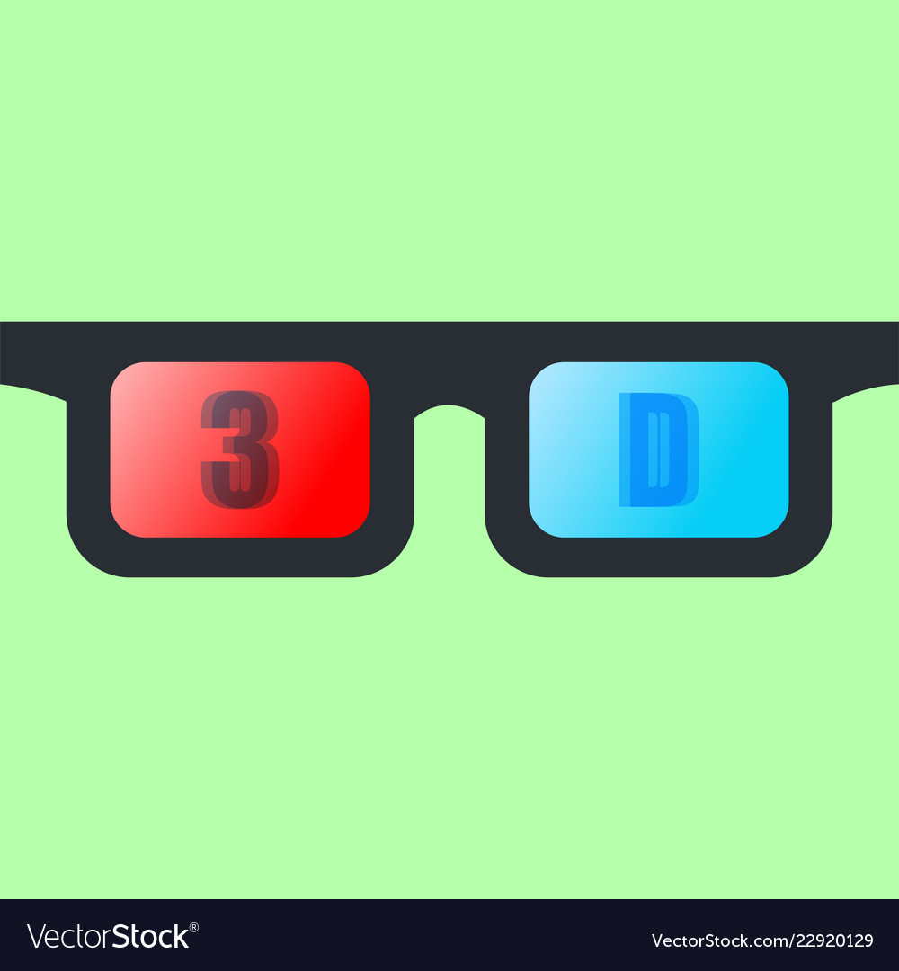3d glasses isolated on green background