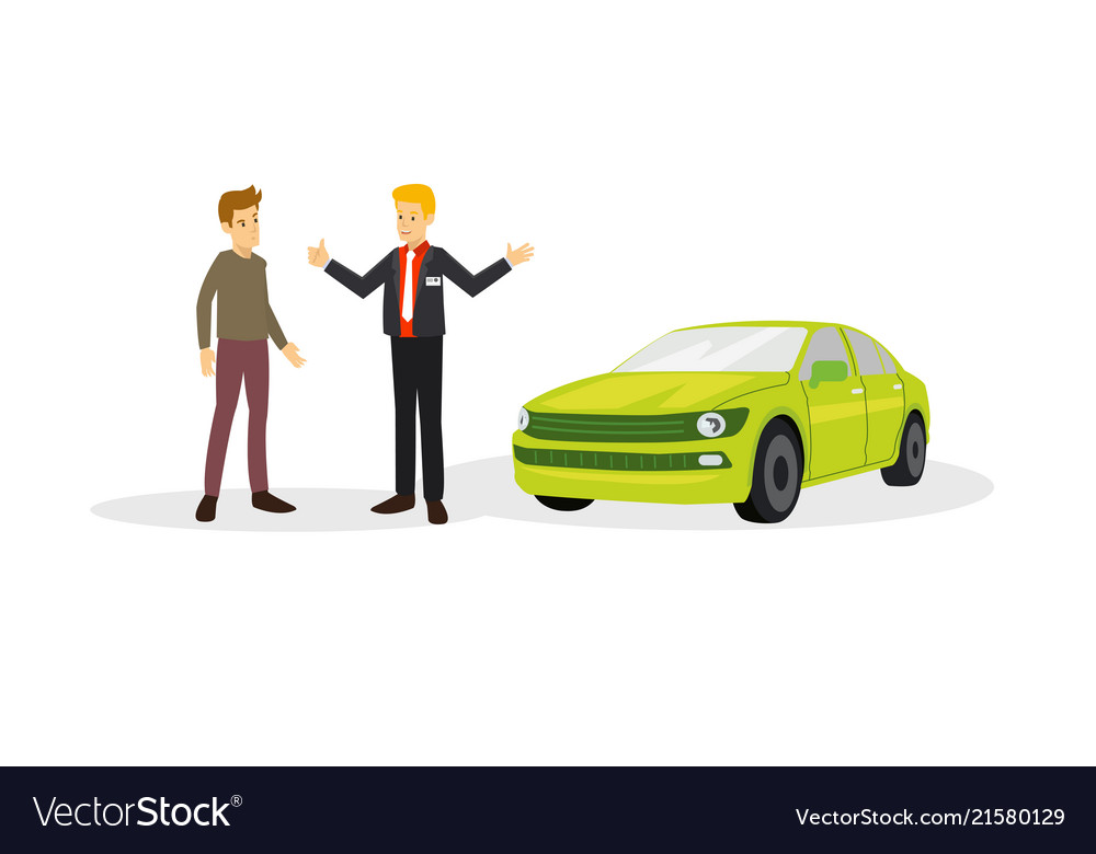 A car sales with the customer on the negotiation
