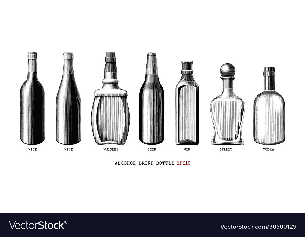 Alcohol drink bottle collection hand draw vintage