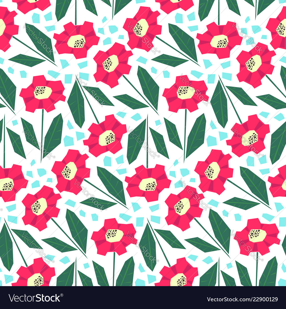 Bright pattern with cute red flowers