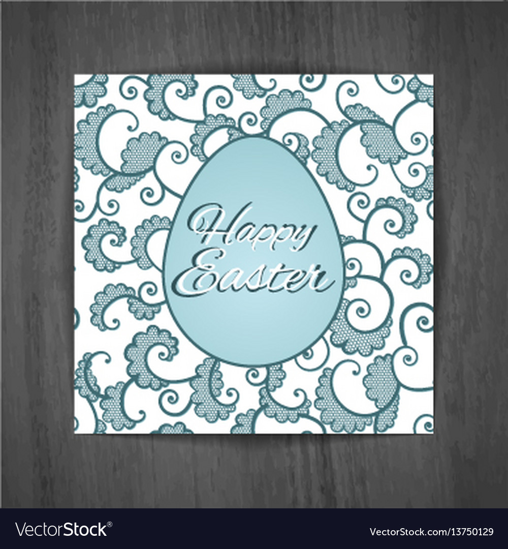 Easter greeting card with curls on wooden