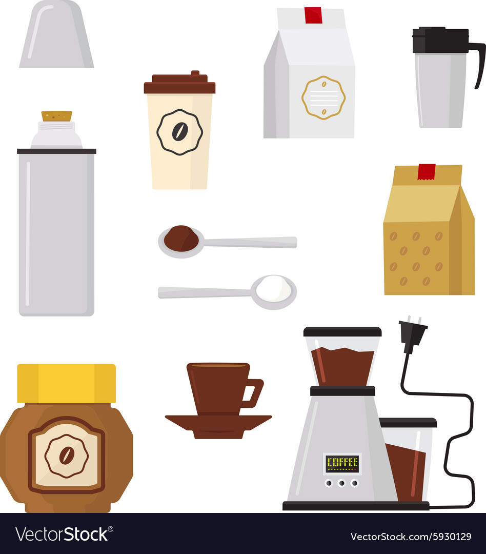 Flat modern icons for coffee shop