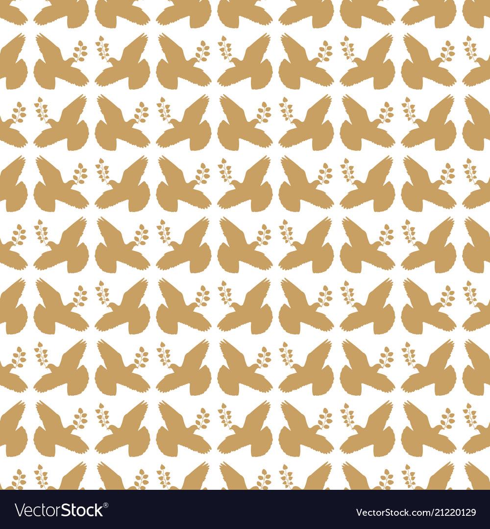 Gold vintage peace dove seamless pattern