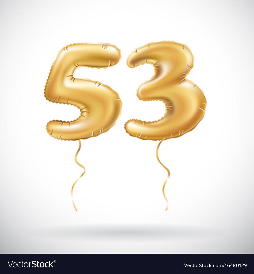 Golden number 53 fifty three metallic balloon
