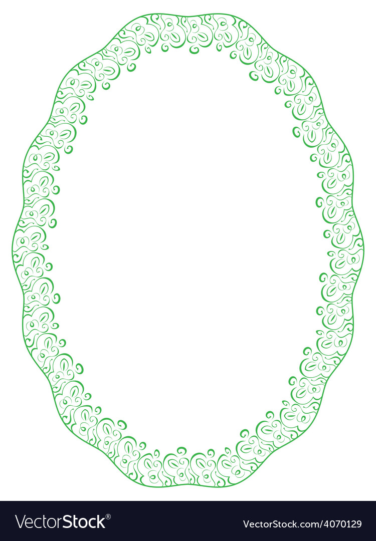 Green oval frame on white background Royalty Free Vector