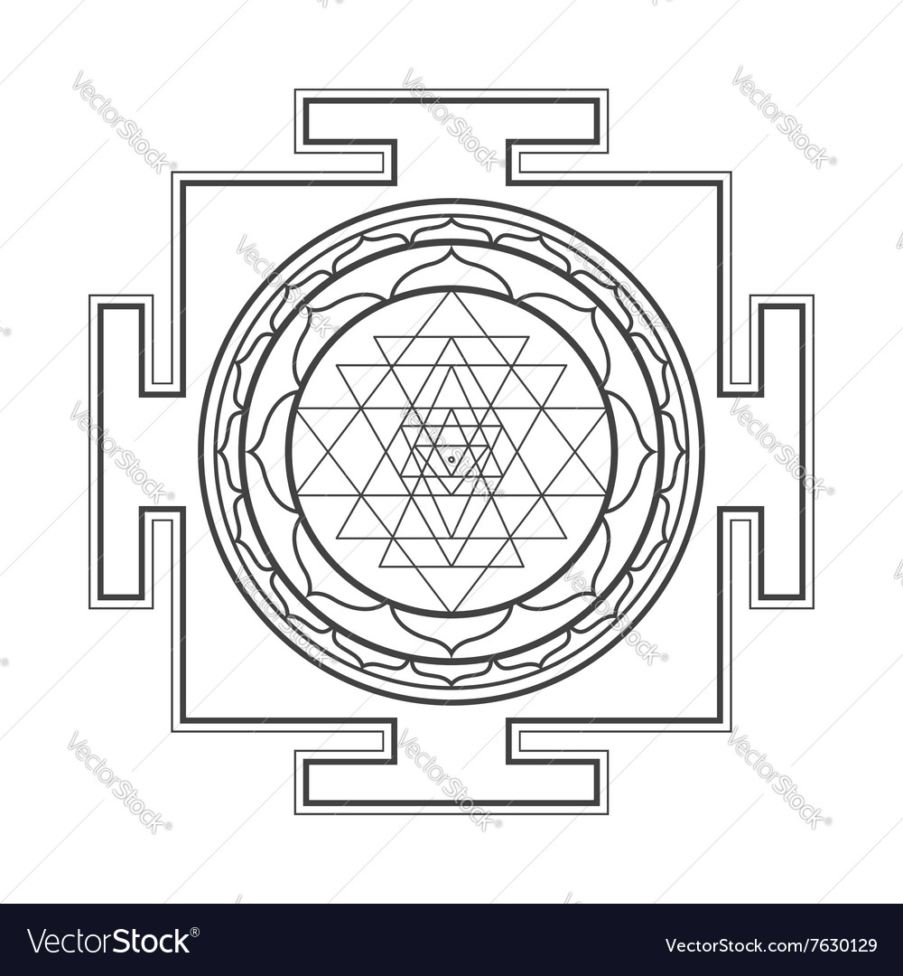 Monocrome outline Sri yantra