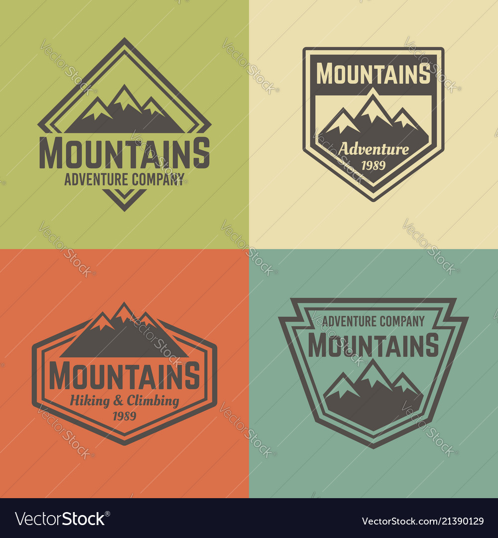 Mountains four colored vintage badges