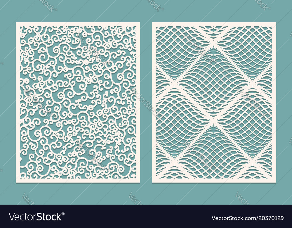 set of laser cut panels template patterns for vector image