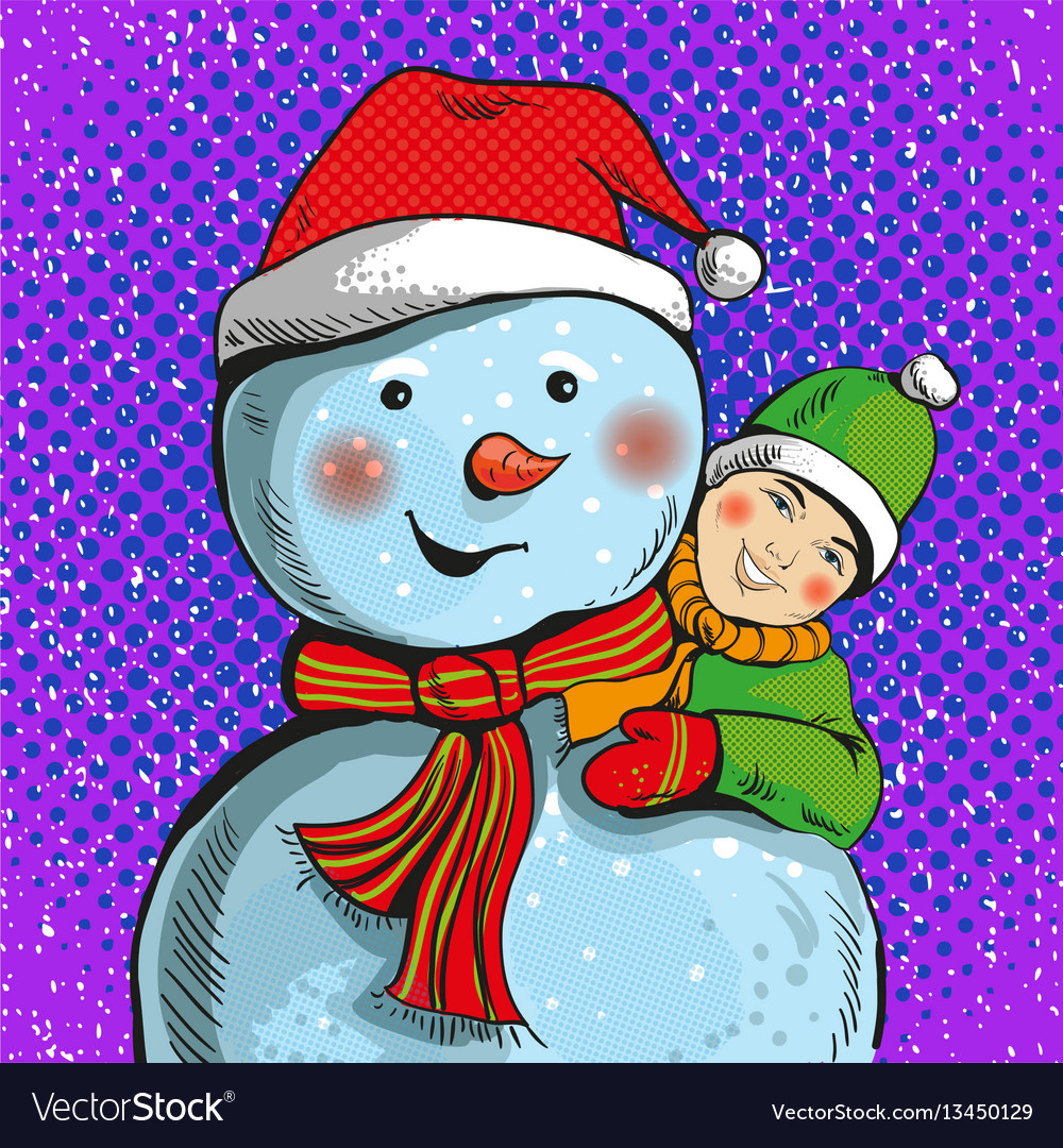 Snowman and boy in pop art