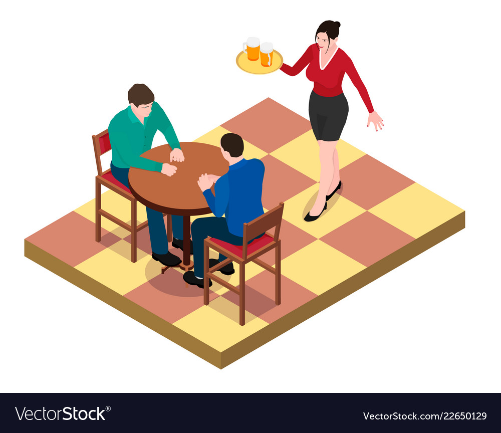 Two men sit at the table and wait for the waitress
