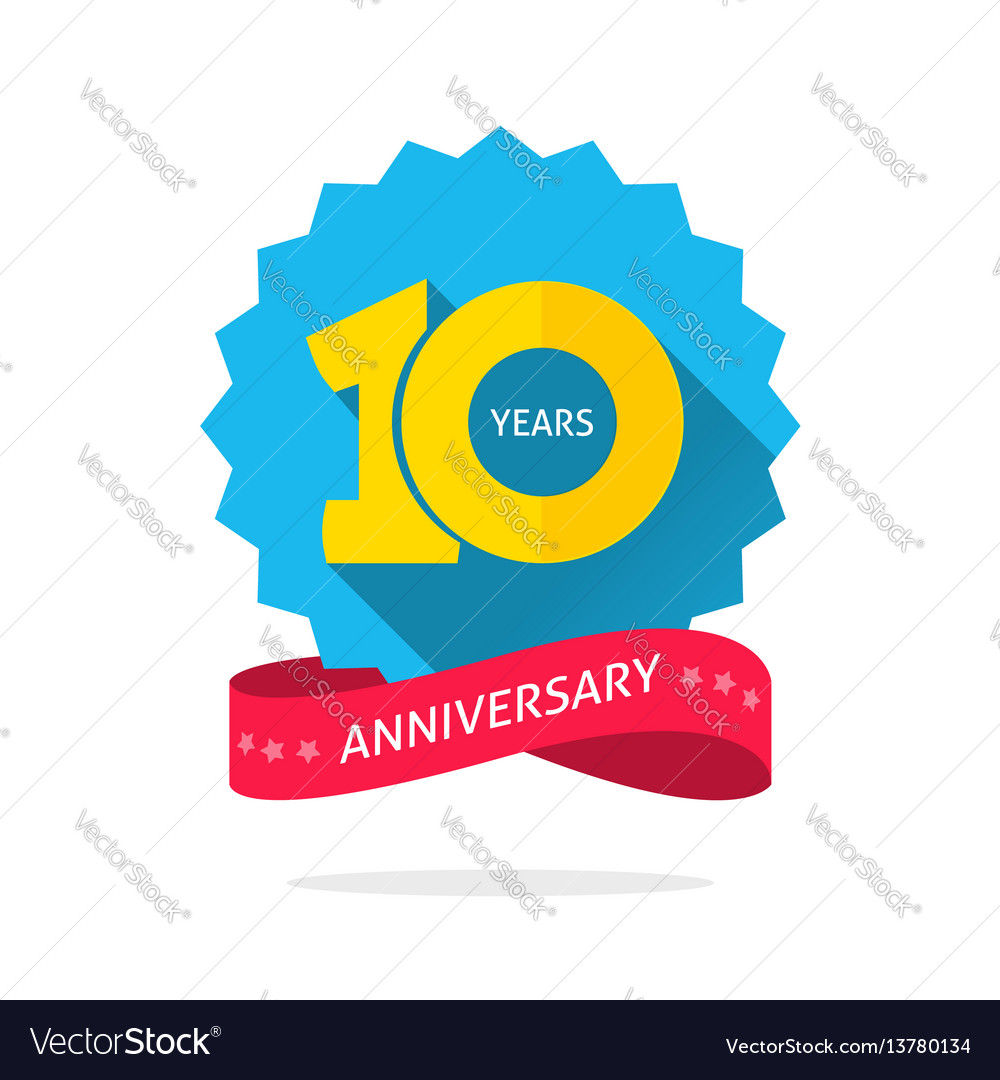 10 years logo 10 years anniversary logo template with shadow on vector image 401