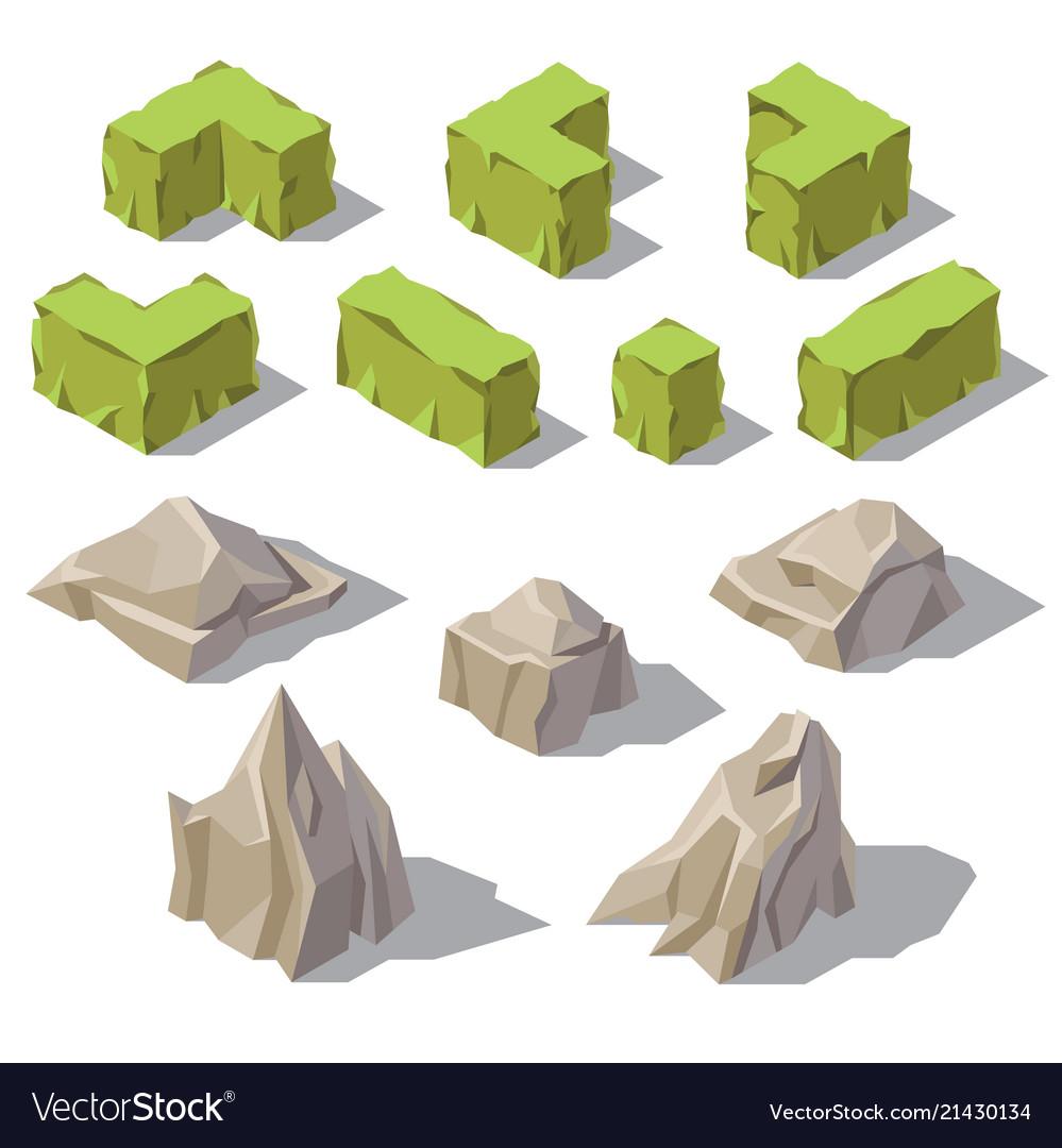 3d isometric green bushes stones rocks