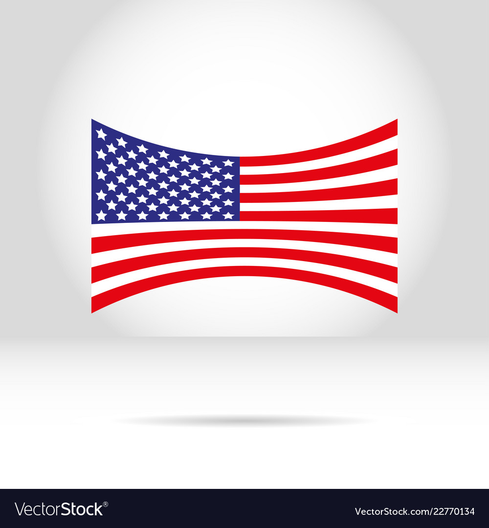 American flag on a white gray background