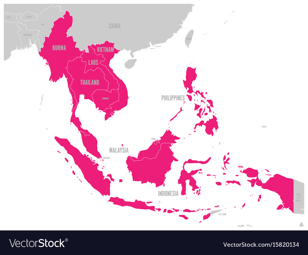 Asean economic community aec map grey map with vector image