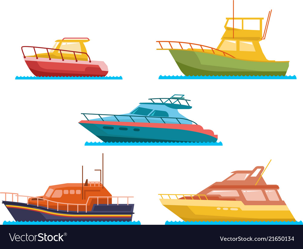 Boats and yacht flat set