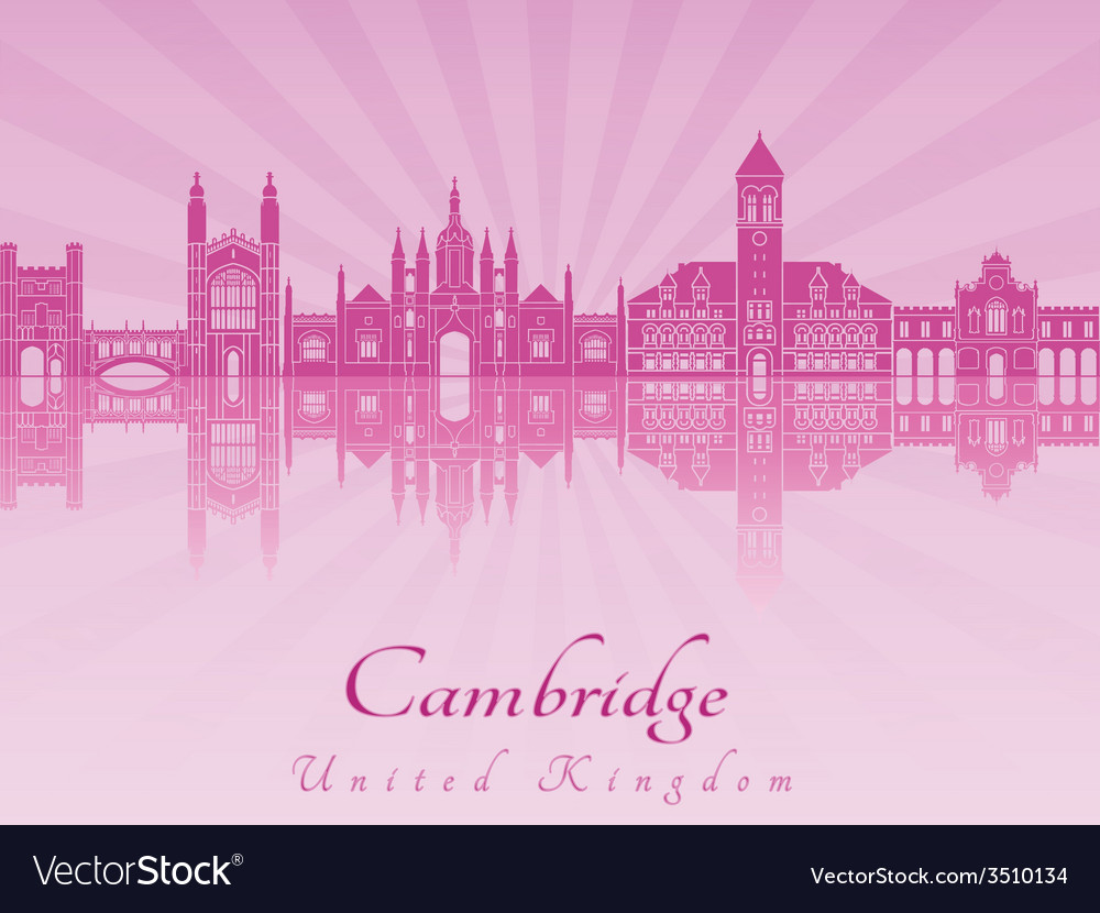 Cambridge skyline in purple radiant orchid in vector image