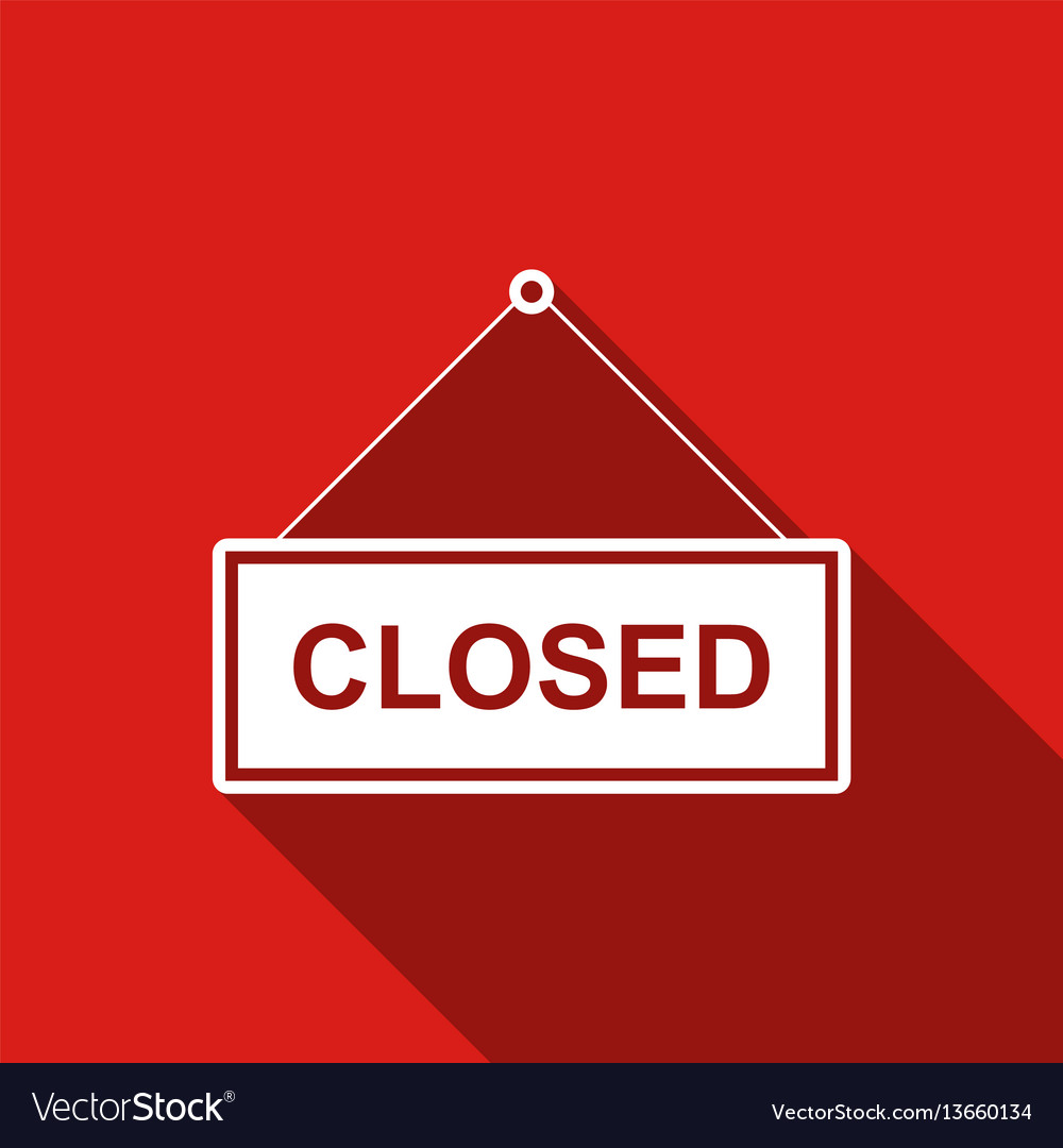 Closed door sign flat icon with long shadow vector image