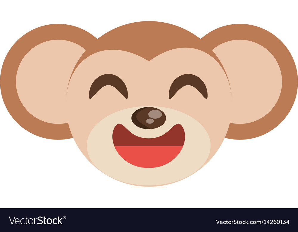 Cute monkey face animal cheerful