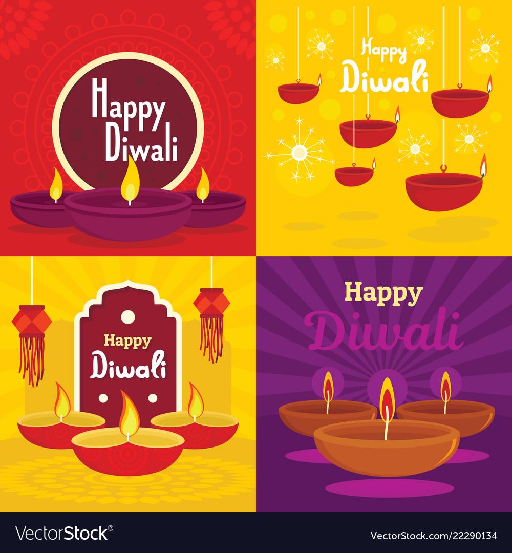 Diwali banner set flat style