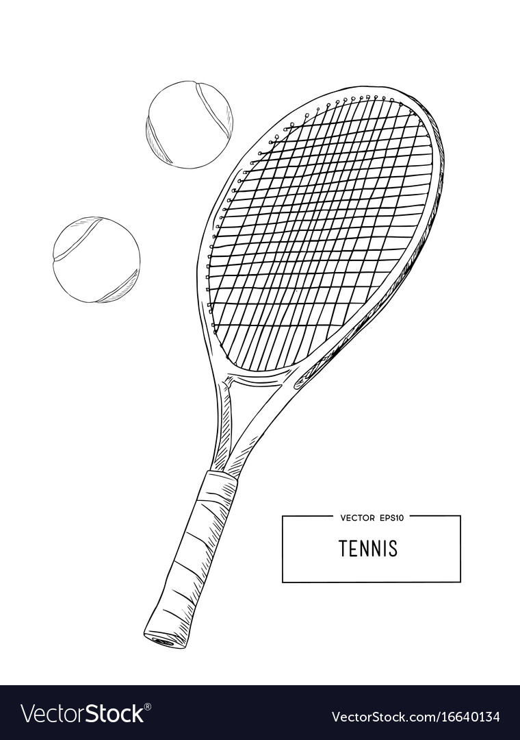 Drawing tennis set vector image